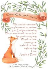 PERSONALISED Fox Christening Godparents gift God son daughter digital print file