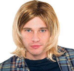 Kurt Cobain 90's Rock Star Wig Grunge Nirvana Adult Mens Costume Hair Halloween