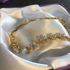 "GB White sim diamonds 18k gold filled bracelet 7.5"" / 19cm x 6mm Plum UK BOXED"