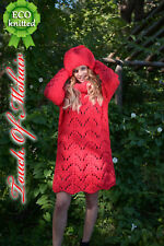 New Hand Knitted NO Mohair Sweater DRESS SET with HAT -MEGA Thick 100% WOOL RED