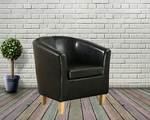 Armchair TUB Chair Sofa Black Bonded Leather Office Reception Dining Living Room