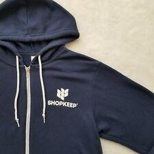 Shopkeep Blue Zip Hoodie Sweatshirt Skate Jacket Bar Restaurant Fleece Sz Medium
