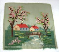 "Spring Time Needlepoint Trees Cottage  Water 10 x 91/2"" Work is Not Finished T15"