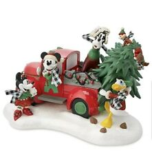 Disney Yuletide Farmhouse Mickey Light-Up Red Truck Christmas Holiday Figurine