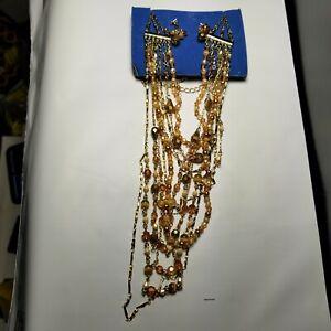 Avon Luxurious Golden Multistrand Gift Set 2005 Necklace Earrings