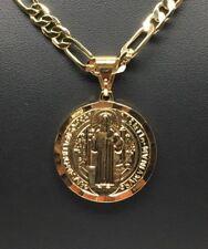 Cadena de 26 pulgadas De Oro Laminado Con San Benito Medalla