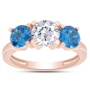 2Ct Fancy 2 Blue & 1 White Three Stone Ring 10K Rose Gold (Center 1.00 Ct)