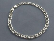 """925 Marina 5Mm Faceted Pave/P 00004000 Olished 10"""" Ankle Bracelet Sterling Silver Italy"""