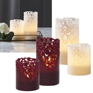 "LED Echtwachs-Kerze ""CLARY"" edles Rankendesign Timer flackernd Wachs Kerzen"