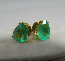 2.80ct 100% Natural Colombian Emerald Pear Stud Earrings 18k Yellow Gold