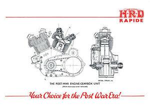 1946 Vincent Series B Rapide engine poster