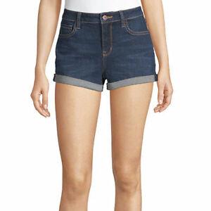 Arizona Women's Juniors Denim Shortie Shorts Size 5 Dark Aerial Color NEW