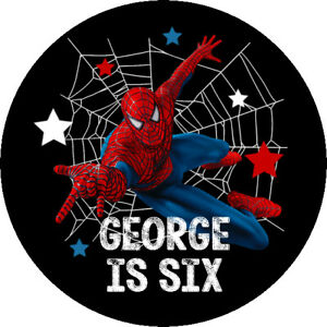 24 Glossy Personalised Spiderman Stickers for Party & Sweet  Bags 45mm Dia