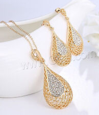 Rhinestone Teardrop, Gold Plated, Necklace and Earrings