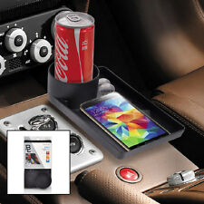 Universal Cup Holder Bottle Multi Tray Storage Stand Table Black for All Vehicle