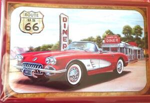 Retro Motiv Blechschild 20x30 Route 66 Corvette Cabrio USA Nostalgie Auto