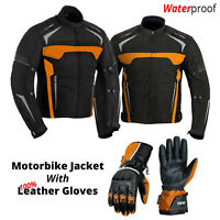 New Motorcycle Jackets Clothing Cordura Textile Jacket with 100% Leather Gloves