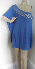 Womens XL BLUE ONE-SHOULDER SHIRT top blouse TUNIC gold design POLYESTER