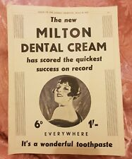 Milton Dental Cream 1933 Advertisement