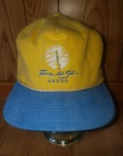 Tierra Del Sol Aruba Country Club Golf Yellow Blue Adjustable hat cap USA H2