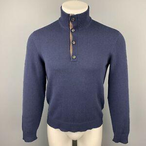 RALPH LAUREN Purple Label Size S Navy Cashmere Mock Turtleneck Pullover