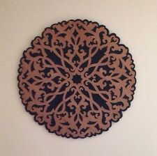 """Carved Wood Wall Art Hanging 23.5"""" Black/Tan Scroll Circle Made in Thailand VG!"""