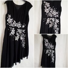 Monsoon Evening Dress Black Chiffon White Silver Embroidered UK 10 Hen Party