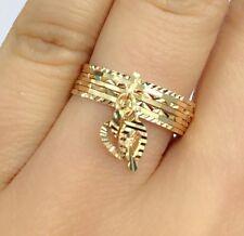 18k Solid Yellow Gold 7 Pcs Set Charming Ring, Diamond Cut. Sz  7.5