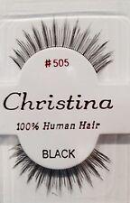 CHRISTINA FALSE EYELASHES #505_100% HUMAN HAIR ( 1 PAIR BLACK)