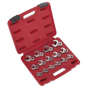 """AK59891 Sealey Crow's Foot Open End Spanner Set 15pc 3/8""""Sq Drive Metric"""