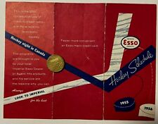 1955/56 ESSO NHL National Hockey League Schedule Sked VG/EX