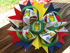 Hair Bow a Large Boutique style Red, Blue,Yellow, Green Box of Crayons  bow USA