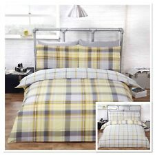 Rapport Hamilton Check Reversible Duvet Cover Bedding Set Lemon / Yellow