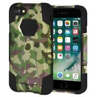 Designer Hard Shell Hybrid Stand Case Cover for iPhone 7 - Camouflage Green