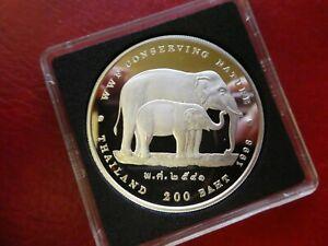 Thailand 200 Baht Elefanten WWF Silber PP 1998