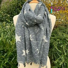 FADED BLUE STAR SCARF WITH TASSELS A LADIES STARS DESIGN SCARF SUPERB  QUALITY