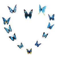 12Pcs 3D Papillon Sticker Autocollant Mural Adhésive Mur DIY Déco Chambre Salon