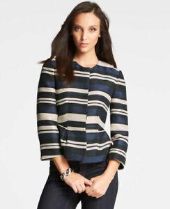 Ann Taylor - Woman's Size 10 Blue & Black Striped Peplum Peplum Jacket $169.00