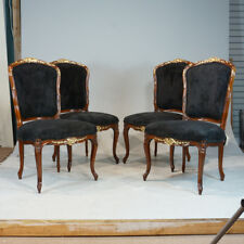 Set of 4 mahogany Louis XV traditional dining chairs with gold leaf details