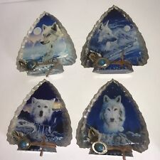 Mystic Wolf Arrowhead Collection Glass Sculpture - Set Of 4  NICE !