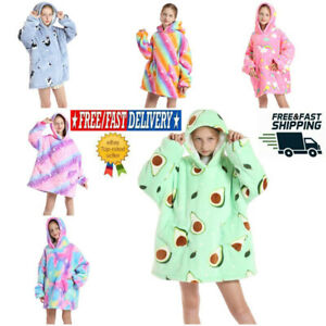 Kids Girls Boys Hoodie Winter Comfy Nightware Fleece Blanket Hoody Pullover UK