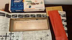 Vintage 1963 Comet Balsa Wood Model Kit FOKKER D VII Box & Parts only !