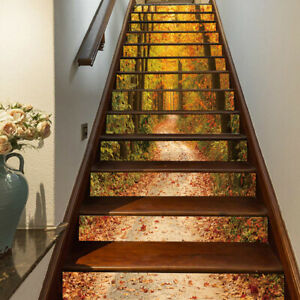 13PCS 3D Self-adhesive Forest Stairs Sticker Waterproof Stair Riser Stickers Art