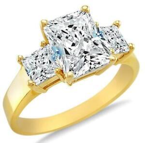 2.05 Ct Princess Cut 3 Stone D VVS1 Diamond Engagement Ring 14K Yellow Gold USA
