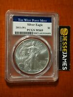 2011 (W) SILVER EAGLE PCGS MS69 STRUCK AT WEST POINT BLUE LABEL