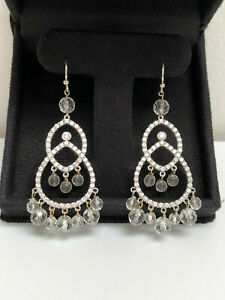 Dangling Chandelier-Style Earrings, Custom Made, Cubic Zirconia with White Gold.