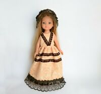 Elegant long dress and hat for doll Paola Reina, Corolle Les Cheries, etc