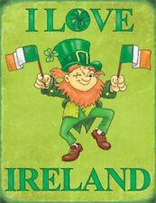 Metal Sign Steel Wall Plaque Ireland Irish Flag Leprechaun St Patrick's Day