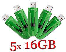 LOT 5 x SanDisk 16GB = 80GB Cruzer GLIDE USB Flash Drive 16 GB SDCZ60-016G GREEN