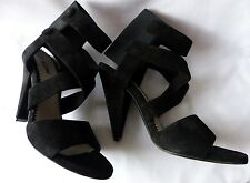 Pollini Stunning Black Suede High Heeled Shoes/Sandals, Size UK 5 (EUR 38) New!